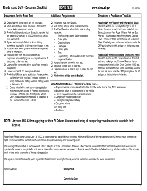 Ontario in-vehicle drive road test checklist sheet form pdf