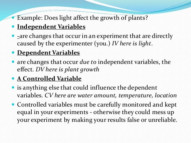 Variables in an experiment example
