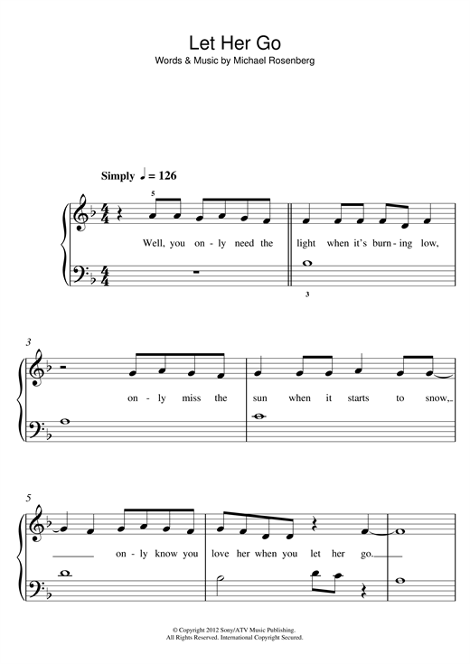 Let her go easy piano sheet music pdf