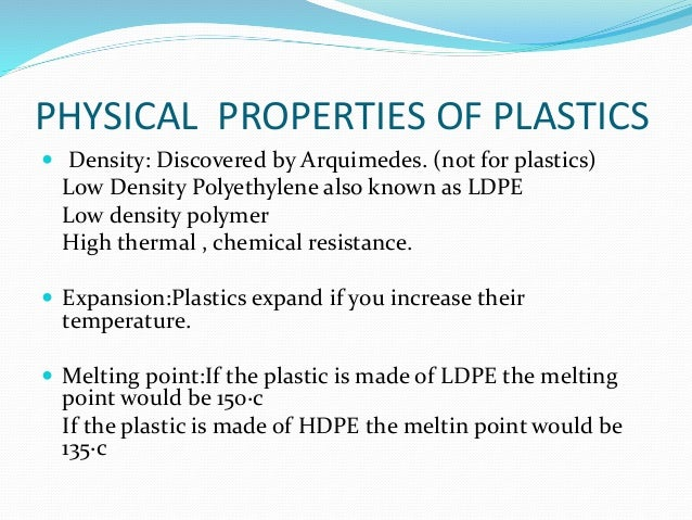 Physical properties of plastic pdf